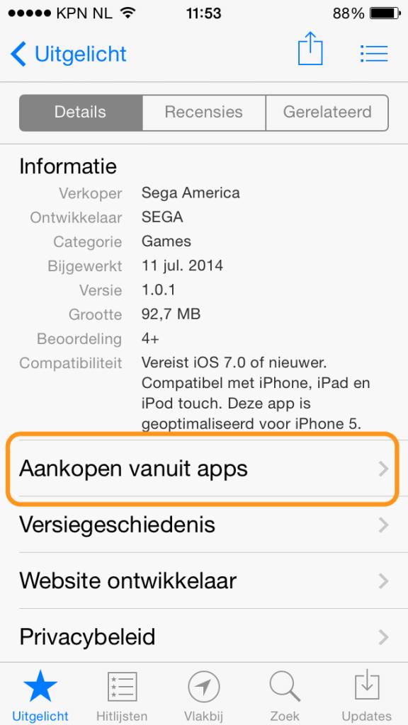 aankopen vanuit apps