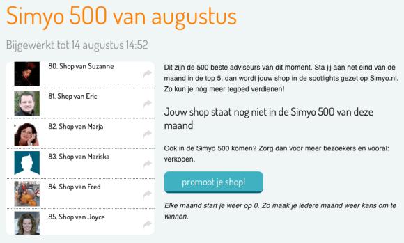 Simyo 500 van augustus 2014