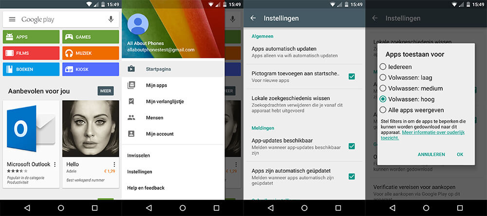 Android - Play Store leeftijdsgrens