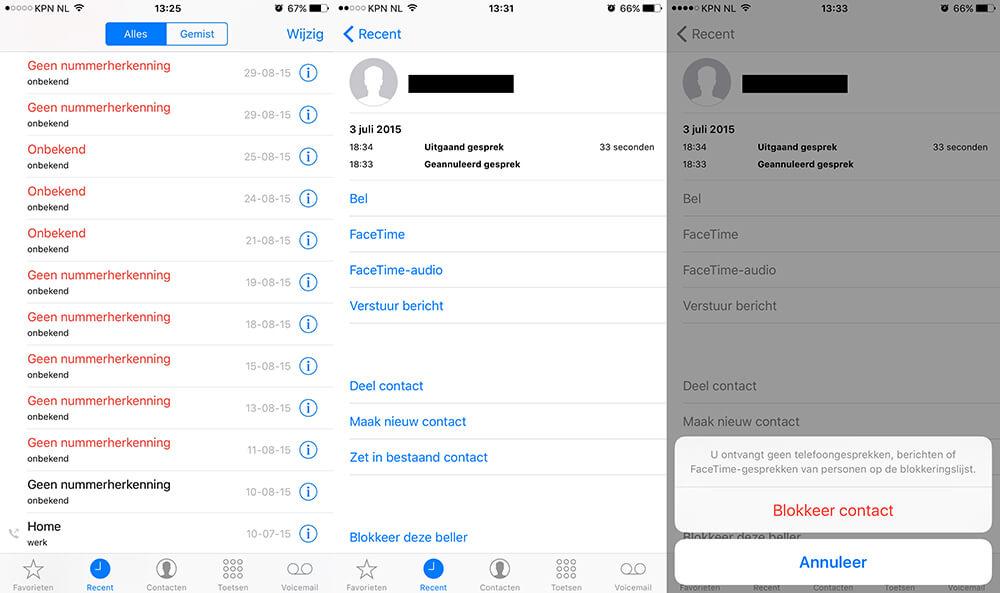 iOS Telefoonnummers blokkeren